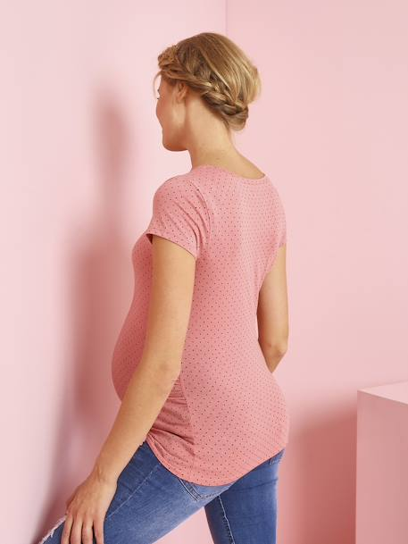Short-Sleeved Maternity T-Shirt PINK DARK ALL OVER PRINTED+YELLOW MEDIUM ALL OVER PRINTED - vertbaudet enfant