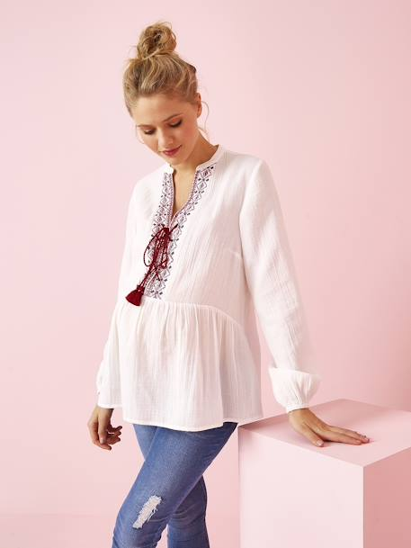 Maternity Blouse with Ethnic Embroidery WHITE LIGHT SOLID WITH DESIGN - vertbaudet enfant