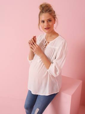 Maternity-Blouses, Shirts & Tunics-Maternity Blouse in Crepon