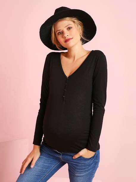 Grandad-Style Long-Sleeved Maternity and Nursing T-Shirt BLACK DARK SOLID+PINK DARK SOLID+WHITE LIGHT STRIPED+YELLOW MEDIUM SOLID - vertbaudet enfant