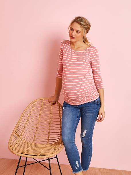 Maternity Sailor-Type Top, Pretty Detail on the Back BLUE DARK STRIPED+PINK MEDIUM STRIPED - vertbaudet enfant