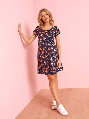 Maternity-Dresses-Short-Sleeved Printed Jersey Knit Maternity Dress