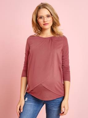 Maternity-T-shirts & Tops-Maternity & Nursing Cross-Over T-Shirt
