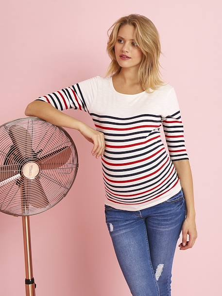 Three-Tone Navy-Style Top for Maternity WHITE LIGHT STRIPED - vertbaudet enfant