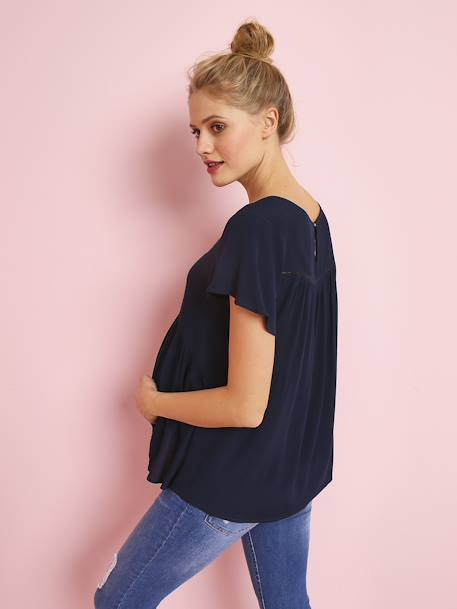 Maternity Blouse in Soft Fabric with Delicate Openwork BLUE DARK SOLID WITH DESIGN+WHITE LIGHT SOLID WITH DESIGN - vertbaudet enfant