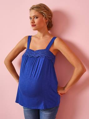 Maternity-T-shirts & Tops-Maternity Vest Top, Viscose & Macramé