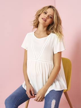 Maternity-Blouses, Shirts & Tunics-Maternity Blouse in Soft Fabric with Delicate Openwork