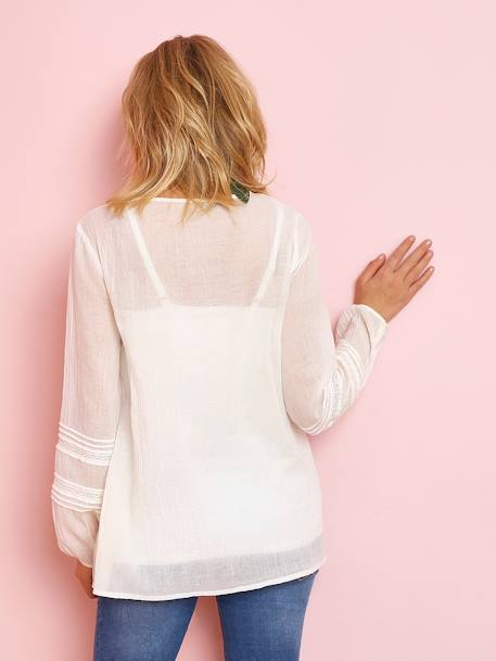 Maternity Blouse with Embroidery & Lace WHITE LIGHT SOLID WITH DESIGN - vertbaudet enfant