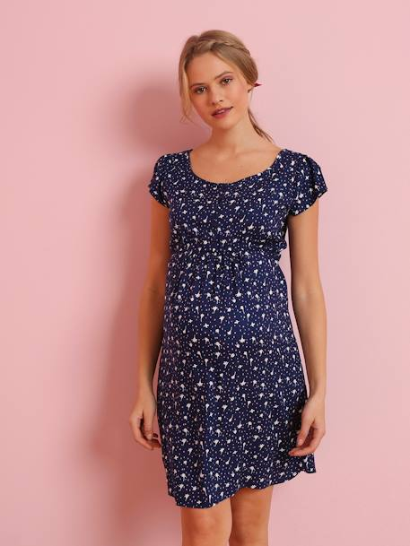 Loose-fitting Maternity Dress with Floral Print BLUE MEDIUM ALL OVER PRINTED - vertbaudet enfant