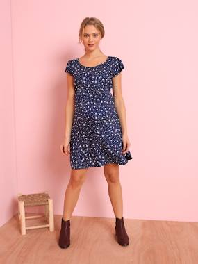 Maternity-Dresses-Loose-fitting Maternity Dress with Floral Print