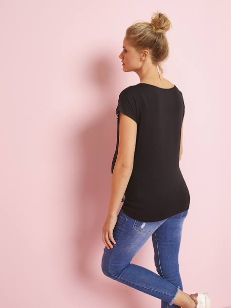 Short-Sleeved Embroidered Maternity T-Shirt BLACK DARK SOLID WITH DESIGN+WHITE LIGHT SOLID WITH DESIGN - vertbaudet enfant