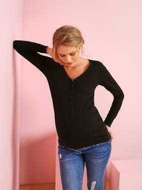 New collection preview-Maternity-Grandad-Style Long-Sleeved Maternity and Nursing T-Shirt