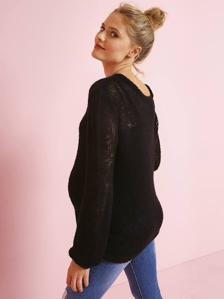 Maternity Jumper in Openwork Knit BLACK DARK SOLID+ORANGE LIGHT SOLID - vertbaudet enfant