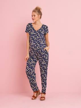 Maternity-Playsuits & Dungarees-Maternity Jumpsuit in Printed Viscose