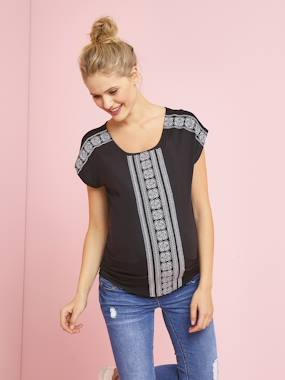 Mid season sale-Maternity-Short-Sleeved Embroidered Maternity T-Shirt