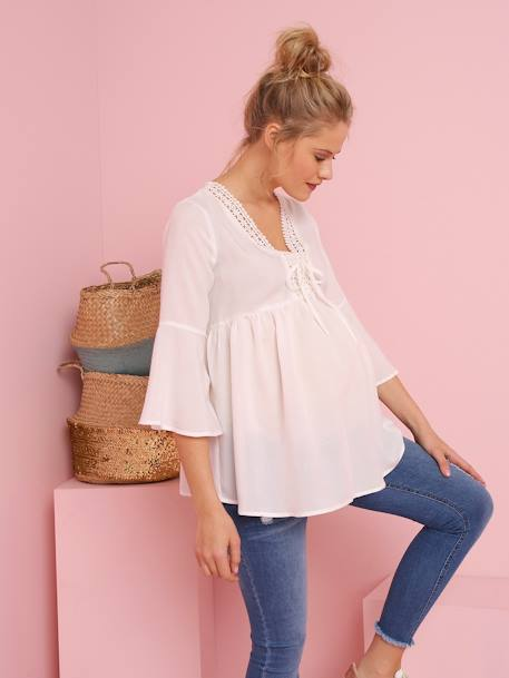 Maternity Blouse with Thin Stripes WHITE LIGHT SOLID WITH DESIGN - vertbaudet enfant