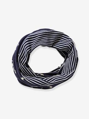 Boys-Accessories-Winter Hats, Scarves & Gloves-Reversible Infinity Scarf for Boys, with Sharks & Striped Motifs