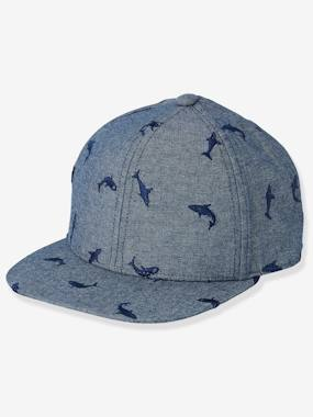 Boys-Accessories-Denim Cap for Boys, with Embroidered Sharks
