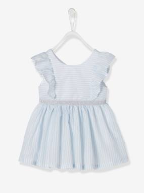 Baby-Dresses & Skirts-Dress with Iridescent Stripes, for Baby Girls