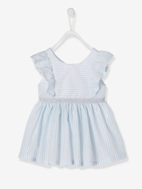 8ca6e0315 Dress with Iridescent Stripes, for Baby Girls - blue light striped, Baby