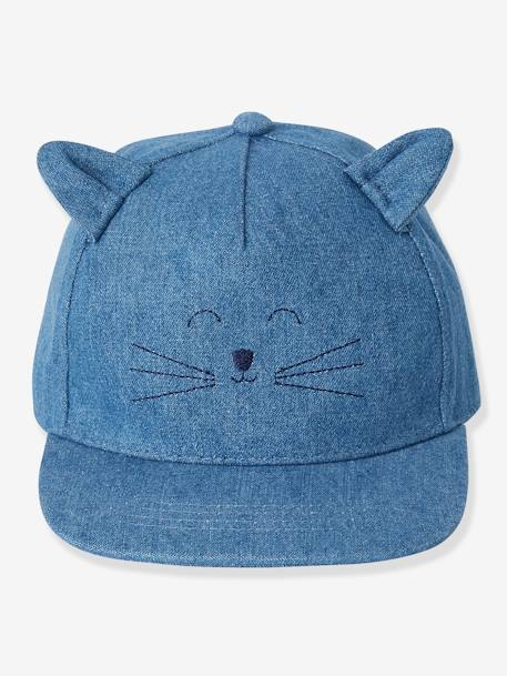 Denim Cap with Embroidered Cat for Babies BLUE DARK SOLID - vertbaudet enfant