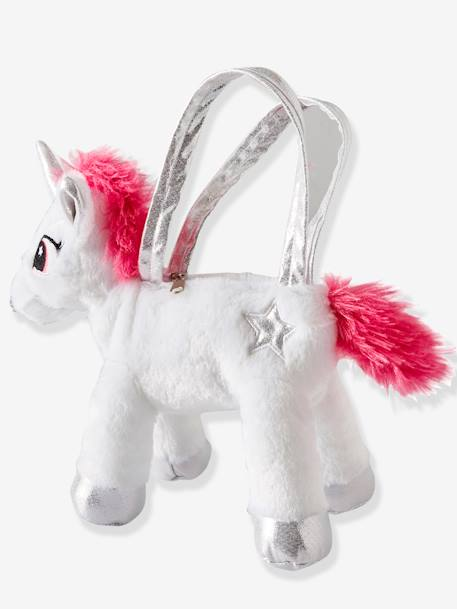 Plush Unicorn Bag for Girls PINK MEDIUM SOLID WITH DESIG - vertbaudet enfant