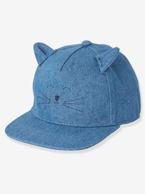 Baby-Hats & Accessories-Denim Cap with Embroidered Cat for Babies
