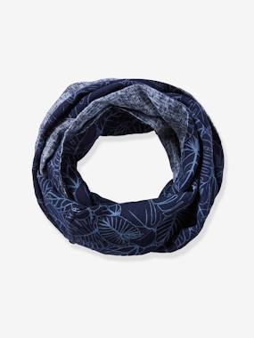 Boys-Accessories-Reversible Infinity Scarf for Boys, with Leaves Motif & Denim-Effect Print