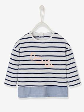 Baby-T-shirts & Roll Neck T-Shirts-T-shirts-2-in-1 Sailor-Type Top for Baby Girls