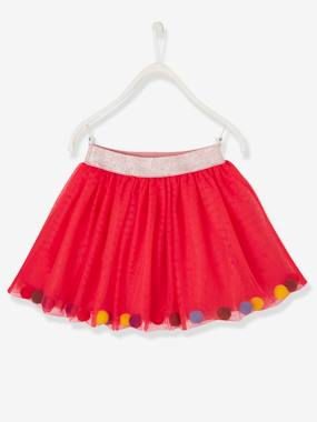 Girls-Tulle Skirt with Multicoloured Pompons for Girls