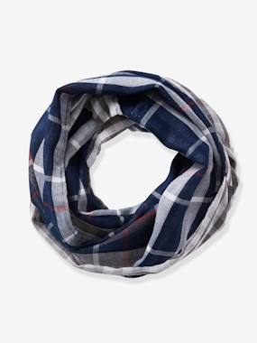 Boys-Accessories-Winter Hats, Scarves & Gloves-Reversible Infinity Scarf for Boys, with Check Motifs