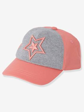 Vertbaudet Collection-Girls-Sportswear-Two-tone Cap for Girls, Star Embroidery