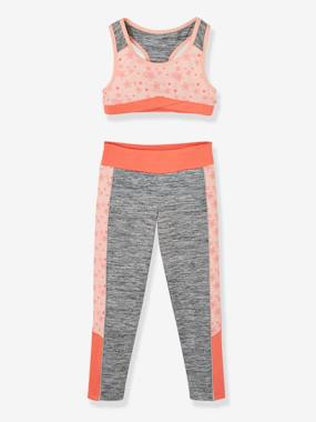 Vertbaudet Collection-Girls-Cardigans, Jumpers & Sweatshirts-Top + Leggings Sports Set for Girls
