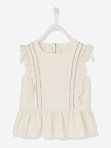 Blouse with Frill & Embroidery WHITE LIGHT SOLID - vertbaudet enfant