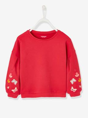 Girls-Cardigans, Jumpers & Sweatshirts-Sweatshirt with Butterflies on the Sleeves, for Girls