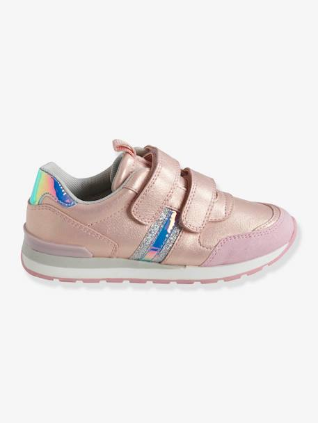 Trainers with Touch-Fastening Tabs, Running-Type, for Girls BLUE LIGHT TWO COLOR/MULTICOL+PINK LIGHT 2 COLOR/MULTICOL R+PINK MEDIUM METALLIZED - vertbaudet enfant