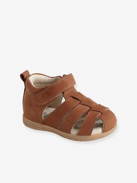 ed35513f51a98 Leather Sandals for Baby Boys, Designed for First Steps BLUE DARK SOLID+BROWN  LIGHT