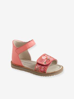 Bonnes affaires-Shoes-Leather Sandals for Girls, Designed for Autonomy