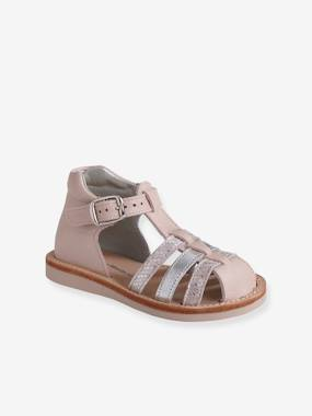 Vertbaudet Collection-Shoes-Leather Sandals for Baby Girls, Closed Toe