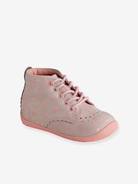 Vertbaudet Collection-Shoes-Leather Booties for Baby Girls, Designed for First Steps