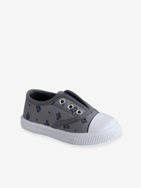 Boys' Fabric Trainers BEIGE MEDIUM SOLID+BLUE MEDIUM ALL OVER PRINTED+BLUE MEDIUM SOLID - vertbaudet enfant