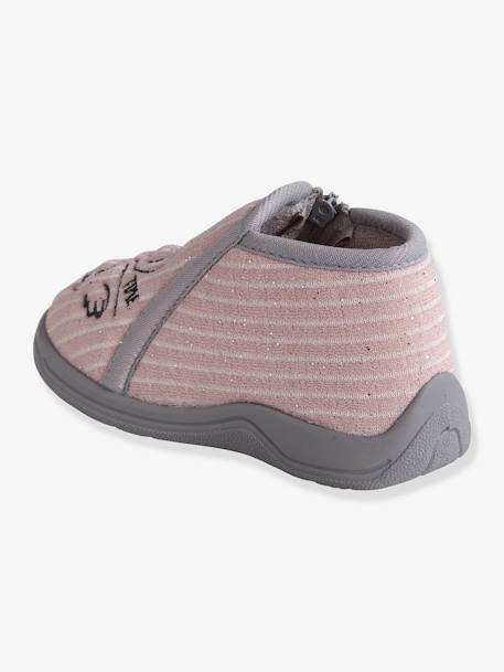 Zipped Slippers in Embroidered Velour for Baby Girls PINK LIGHT SOLID WITH DESIGN - vertbaudet enfant