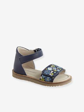 Vertbaudet Collection-Shoes-Leather Sandals for Girls, Designed for Autonomy