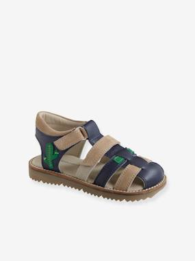 Vertbaudet Collection-Shoes-Touch Fastening Leather Sandals for Boys
