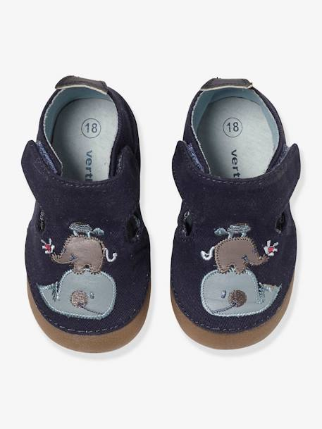 Babies' Booties BLUE DARK SOLID WITH DESIGN+GREEN MEDIUM SOLID WITH DESIG - vertbaudet enfant