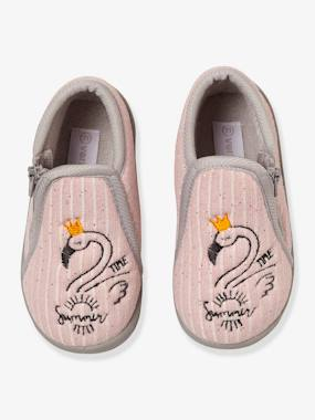 Shoes-Baby Footwear-Zipped Slippers in Embroidered Velour for Baby Girls