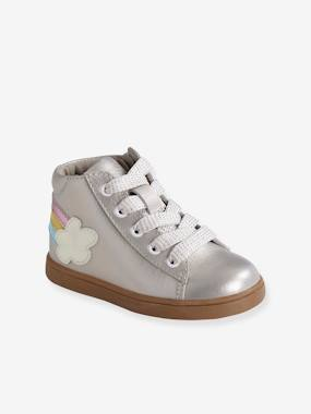 Shoes-Baby Footwear-Iridescent Leather Trainers for Baby Girls