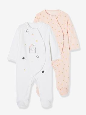 Baby-Baby Pack of 2 Printed Velour Pyjamas, Front Press-Studs