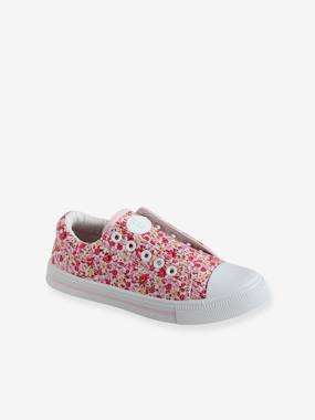 Shoes-Elasticated Trainers in Canvas for Girls