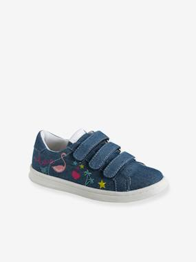Baskets-Trainers with Touch-Fastening Tabs, Embroidered Motifs, for Girls